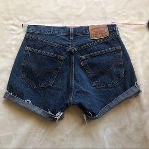 Vintage Levis 501 Button Fly Dark Wash Jean Shorts